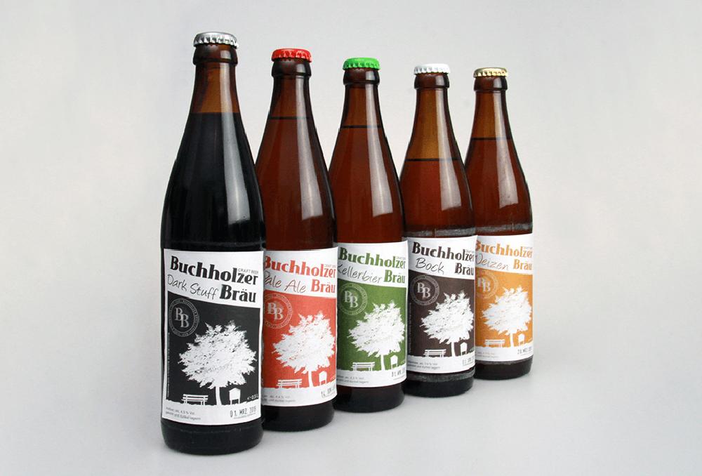 Werbeagentur Grafikpunkt - Punktlandung Buchholzer Bräu Flaschen