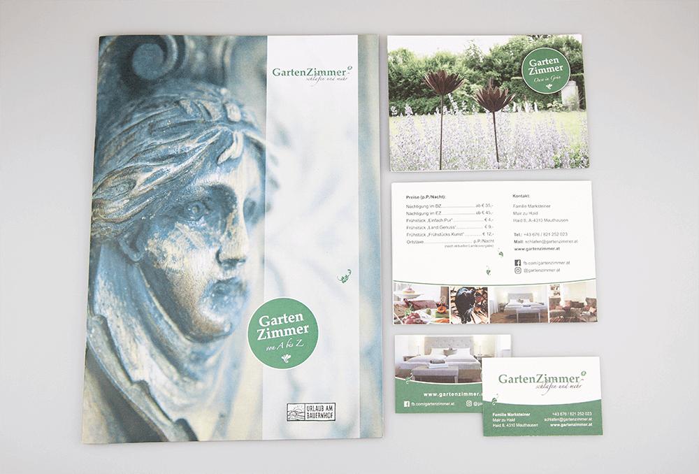 Werbeagentur Grafikpunkt - Punktlandung Marksteiner Gartenzimmer, Drucksorten